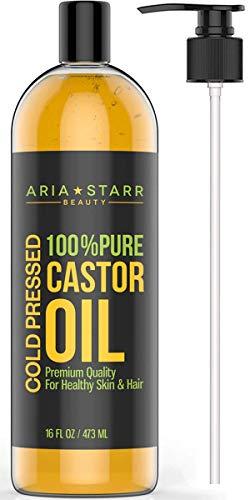 Aceite de Ricino Extracción en Frío Aria Starr - 16 FL OZ – EL MEJOR Y 100% PURO Aceite capilar para el crecimiento del cabello, cara, humectante para piel, cuero cabelludo, pestañas y cejas más gruesas.