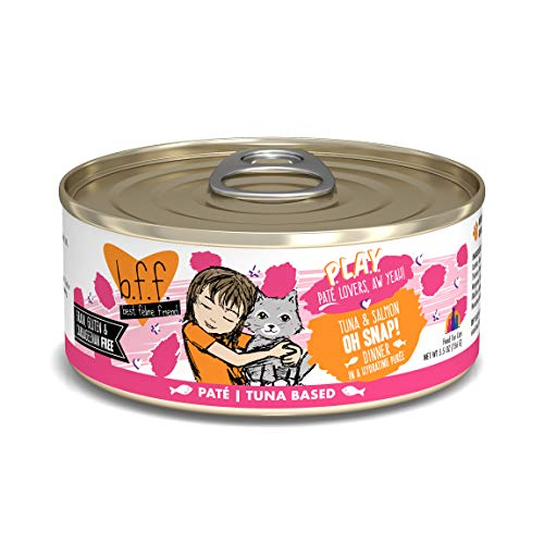 Weruva B.F.Play - Best Feline Friend Paté Lovers, aw Yeah!, Tuna & Salmon Oh Snap! with Tuna & Salmon, 5.5oz Can (Pack of 8)