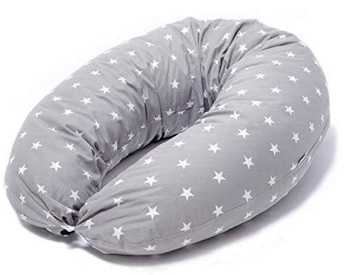 Niimo Stillkissen Seitenschläferkissen Schwangerschaftskissen zum Schlafen Lagerungskissen mit Bezug aus 100% Baumwolle Grau mit Weißen Sterne für Mutter und Baby
