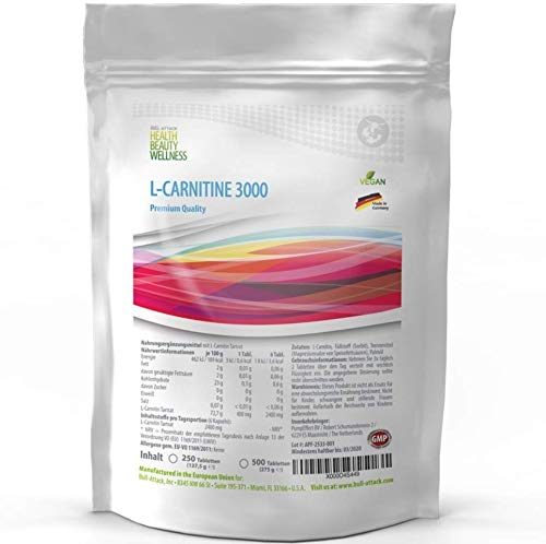 L - Carnitin 500 Tabletten | 3000mg Acetyl-L-Carnitin je Tagesportion | Vegan | Fatburner - Big Pack | zum Abnehmen | Premiun Qualität hergestellt in Deutschland