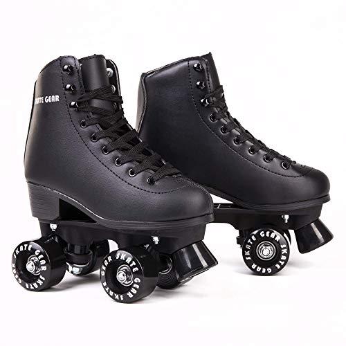 Skate Gear Extra Support Quad Roller Skates for Kids and Adults (Black, Women's 6 / Youth 5 / Men's 5)