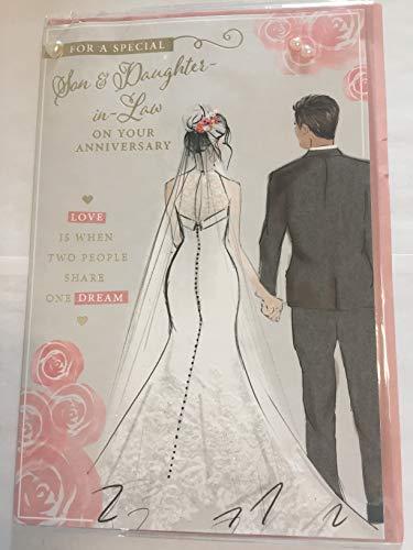 Tarjeta de aniversario de boda para un hijo especial y una nuera en su aniversario, tarjeta de aniversario de boda, color gris/rosa novia+perlas de novio/purpurina/detalles de lámina