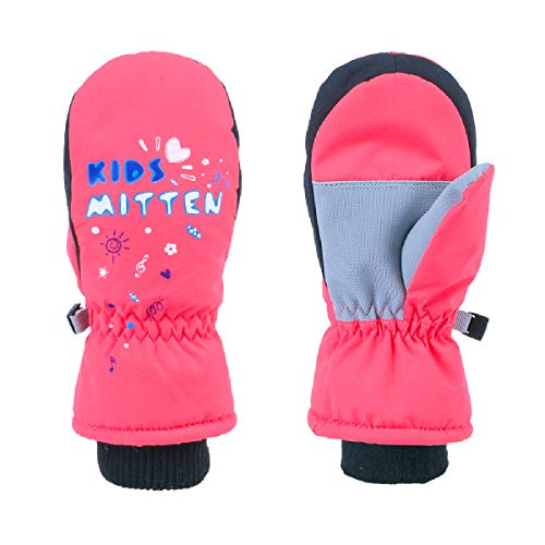 TRIWONDER Guanti da Sci Bambini, Invernali Guanti da Neve per Bimbo Bimba Bambino Bambina (Rosa Arancione, XXS (3-5 Anni))