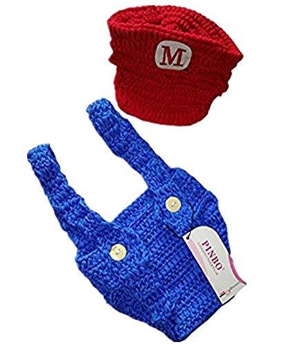 Pinbo Newborn Baby Photography Prop Crochet Hat Overalls Costume