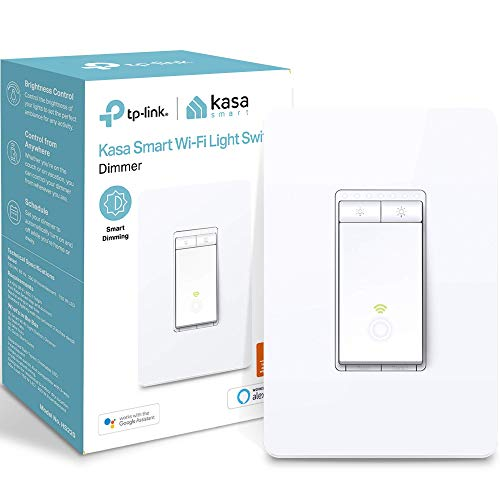 Kasa Smart Dimmer Switch by TP-Link, Single Pole, Needs Neutral Wire,WiFi Light Switch for LED Lights, Works with Alexa and Google Assistant,UL Certified, 1-Pack(HS220)