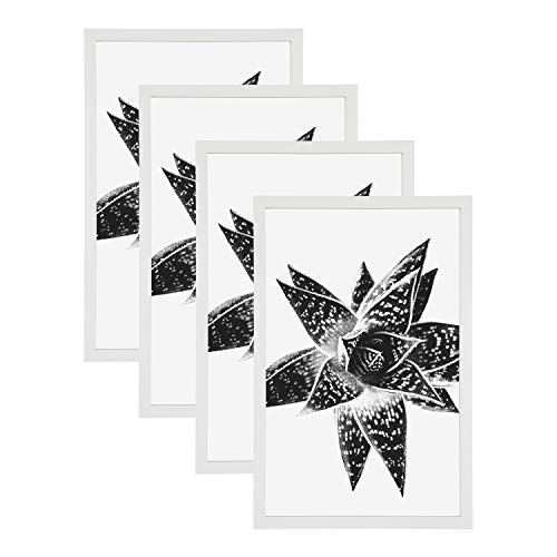 DesignOvation Gallery 11x17 Wood Picture Frame, Set of 4, White,...