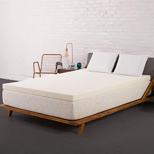 SleepJoy 3' ViscO2 Ventilated Memory Foam Mattress Topper, Queen, White
