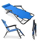 XXSSIER Foldable 2 in 1 Adjustable Lounge Chair Recliner Deck Lazy Arm Sleeping Lunch Break Chair Office Desk Chair with Pillow for Living Room Garden Outdoor Patio