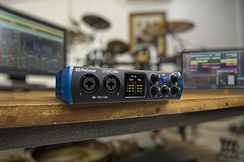 PreSonus Studio 24c 2x2, 192 kHz, USB Audio Interface with Studio One Artist and Ableton Live Lite DAW Recording Software
