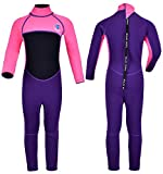 REALON Kids Wetsuit Shorty Boys Girls 3mm Neoprene One Piece Thermal Swimsuit 2mm Warm Full Long Sleeve Wet Suits Cover Toddler Child Junior Youth Swim Surf Dive (3mm Pink Girl's Fullsuit, L)