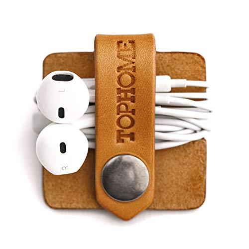 TOPHOME Cord Organizer Earbud Holder Earphones Headphones Winder Keeper Earbuds Case Storage Wrap Headset Genuine Leather Cable Organizer, Orange Yellow