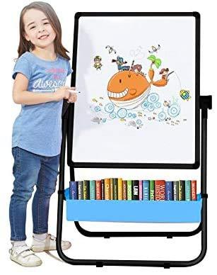 Arkmiido Lavagna per Bambini con Cavalletto,Lavagna Magnetica Cancellabile a Doppia Faccia, Cavalletto per Bambini con Supporto Regolabile & Lettere & Numeri magnetici Bonus, Giocattoli Educativi