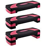 """EveryMile Workout Aerobic Stepper, 4"""" 6"""" 8"""" Levels Height-Adjustable Exercise Step Platform, 31Inch Fitness Step for Exercise, Nonslip Stepper Trainer Risers Deck Sports Accessory"""