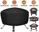 Fire Pit Cover for Fire Pit Size 26 inch - 34 inch, Heavy Duty Outdoor Round Fire Pit Cover, Waterproof Dustproof Anti UV Full Coverage Patio Round Fire Pit Cover Oxford Cloth Outdoor Fireplace Cover