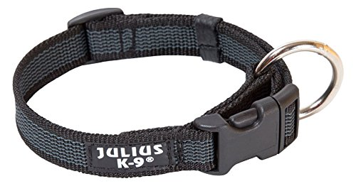 Julius-K9 Collar Color & Gray, 25 mm (39-65 cm), Negro-Gris