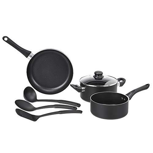 AmazonBasics 6 Piece Non-Stick Cookware Set,Saucepan,Fry Pan etc(without Induction Base)