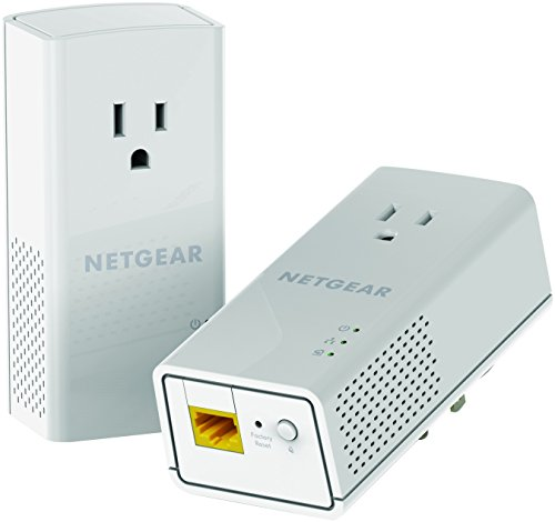 NETGEAR PowerLINE 1200 Mbps, 1 Gigabit Port with Pass-Through, Extra Outlet (PLP1200-100PAS),Pale Gray