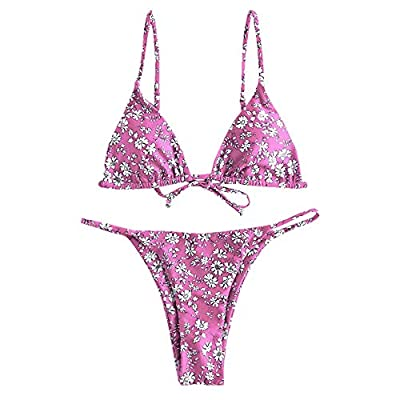 Material: Polyester, Spandex Our Size: S--US 4, M--US 6, L--US 8.Please refer to our size detail in description before ordering Adjustable spaghetti straps, Bralette type, Non-Padded, Tie back and tie side for a perfect fit This bathing suit featurin...