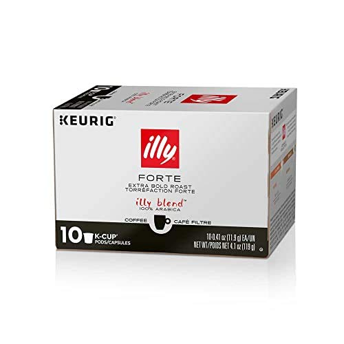 illy Forte K Cup Coffee Pod, Bold and Intense, Extra Dark Roast Coffee K-Cups, Made with 100% Arabica Coffee, All-Natural, No Preservatives, Coffee Pods for Keurig Coffee Machines, 10 Count