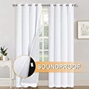 RYB HOME Soundproof Divider Curtains 100% Blackout Curtains for Living Room Window, Inside Felf Linings Insulted Heat Cold Noise Shade Drapes for Sliding Glass Door, W 52 x L 95 inches, White, 2 Pcs