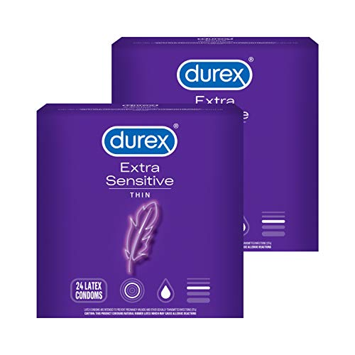 Condoms, Durex Extra Sensitive & Extra Lubricated Condoms, 24 Count (Pack of 2), Ultra Fine, Natural Latex Condoms, FSA & HSA Eligible