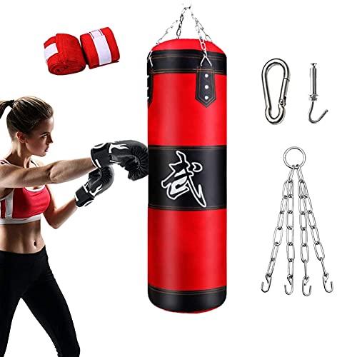 Sac de Frappe Boxe, Professionnel Ultra résistant avec chaînes Suspension Punching Bag Non rempli, MMA Muay Thai Kickboxing Kit Postuler à Adulte Enfant