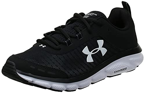 Under Armour mens Charged Assert 8 Running Shoe, Black/White, 10...