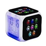 Among Us Despertadores, Despertador con Cambio de Color LED, Reloj Cuadrado, Luz de Escritorio con Destello de Colores, Reloj de Dormitorio Modelo de acción Juguetes para niños Regalo para niños