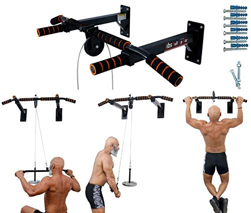 ALLYSON FITNESS Pull Up Bar Wall Mounted Chin Up Bar Side Pulley with Lats Bar, Tricep Bar, U Bar...