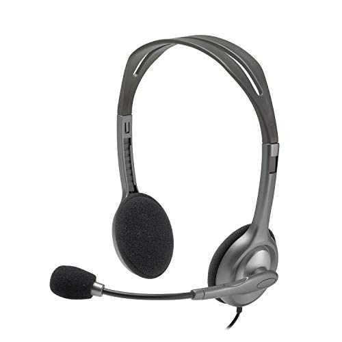 Logitech H110 Wired headset, Stereo Headphones with noise-cancelling Microphone,3.5-mm Dual Audio Jack, PC/Mac/Laptop- Grey