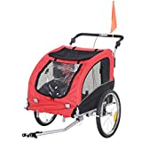 Aosom Elite II 2-in-1 Pet Dog Bike Trailer and Stroller with Suspension and Storage Pockets, Red