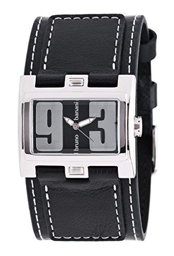 Bruno Banani BR25921 Damen-Armbanduhr Lederarmband Schwarz