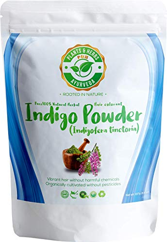 Plants & Herbs Ayurveda 100% Pure Herbal Indigo Powder Dye for Natural Shades of light to dark Brown and Black Hair and Beards - 8oz / 227g - Organic, Chemical-free, PPD-free, Ammonia-free