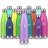 KollyKolla Botella de Agua Acero Inoxidable, Termo Sin BPA Ecológica, Botellas Termica Reutilizable Frascos Térmicos para Niños & Adultos, Deporte, Oficina, Yoga, Ciclismo, (750ml Luz Púrpura)