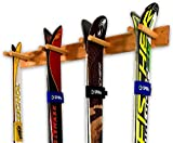 StoreYourBoard Timber Ski Wall Rack, 4 Pairs of Skis Storage, Wood Home and Garage Mount System, Natural Wood