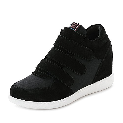 Jamron Mujer Moda Tacón de Cuña Oculto Zapatillas Zapatos del Elevador Cómoda Gamuza & Tela Zapatos de Deporte Negro 5516 EU35.5
