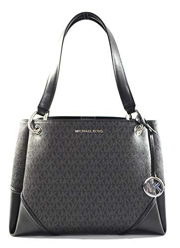 Made of MK logo PVC with leather trims and straps Light weight and spacious Top snap closure