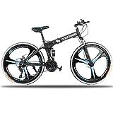 26in Folding Mountain Bike Shimanos 21 Speed Bicycle Full Suspension MTB Bikes (Blue)