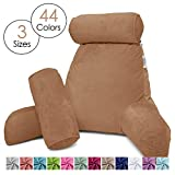 Nestl Reading Pillow, Includes 1 Extra Large Bed Rest Pillow with Arms & Pockets + 2 Detachable Pillows - Shredded Memory Foam TV Pillow, Neck Roll & Lumbar Support Pillow - 3 Set - Mocha Light Brown