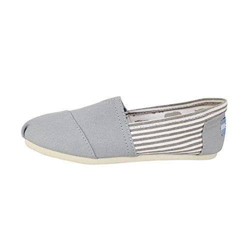 Dooxii Unisex Hombre Mujer Amantes Ocasionales Antideslizante Loafer Zapatos Moda Rayas Planos Alpargatas Gris 37(23.5cm)