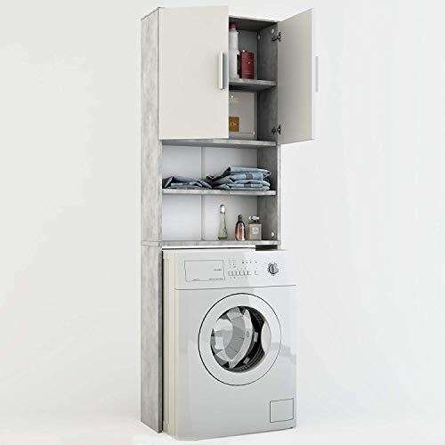 Vicco Waschmaschinenschrank 190 x 64 cm - Badregal Hochschrank Waschmaschine Bad Schrank Badezimmerschrank Überbau (Grau)