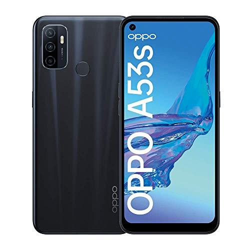 OPPO A53s Smartphone, 90 Hz 6,5 Zoll Display, 5000 mAh Akku + 18W Schnellladen, 13 MP Dreifachkamera, 128 GB Speicher, Dual SIM, Electric Black – Deutsche Version