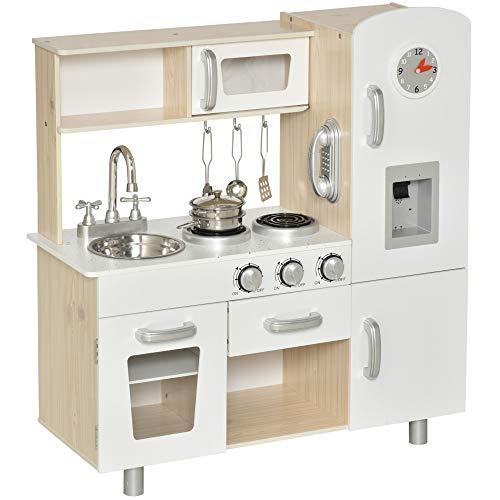 homcom Cucina Giocattolo in Legno per Bambini con Lavandino e Fornelli, Pentole e Utensili in Acciaio, 74x30x81cm, Bianco