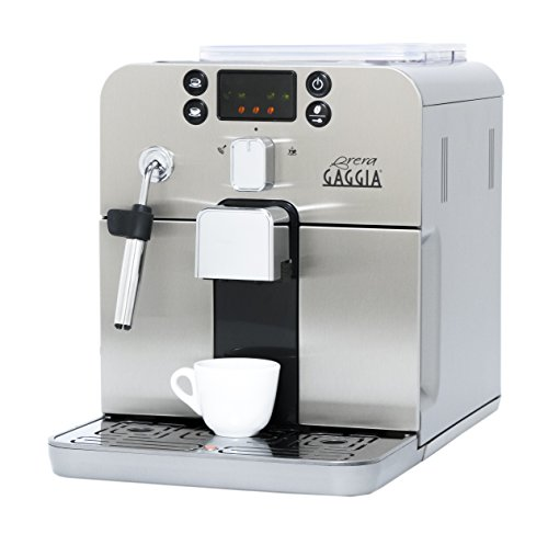Gaggia Brera Super Automatic Espresso Machine in Silver. Pannarello Wand Frothing for Latte and Cappuccino Drinks. Espresso from Pre-Ground or Whole Bean Coffee.