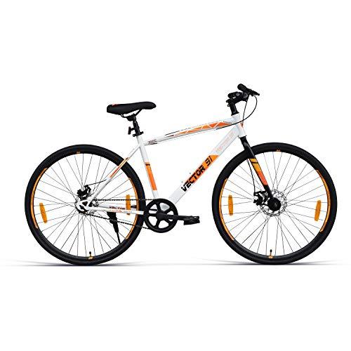 VECTOR 91 Wanderer 700C Single Speed Hybrid Bike ( White & Orange , Ideal For: 12+ Years , Brake: Disc )