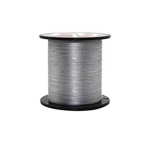 ALIFREE 4 Strand Braided Fishing Line 6lb-150lb Superline Abrasion Resistant Braided Lines Super Strong High Performance PE Fishing Lines (Gray, 15LB-0.18MM-110Yds)