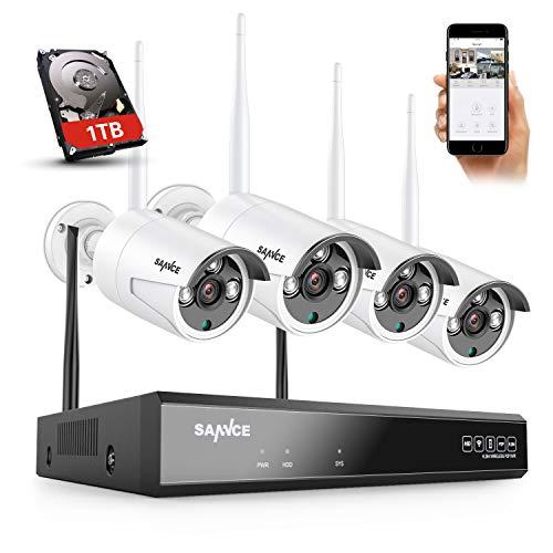 SANNCE Kit de cámaras de vigilancia WiFi Super HD 5MP NVR 8 canales con 1TB HDD 4 Cámara IP inalámbrica 3MP Micrófono inteligente AI Detección humana Sistema de vigilancia al aire libre IP66 -1TB HDD