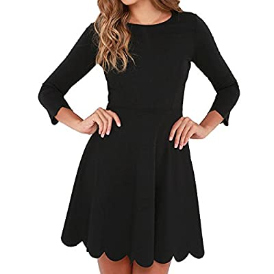 Material:65%Rayon+30%Nylon+5%Spandex Princess seams run down the flattering, Stretch-knit bodice into a fitted waist, hidden back zipper, Flirty scalloped detailing adorns the hems at both the three-quarter sleeves and the twirl-worthy skirt! knee le...
