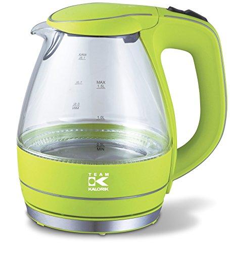 Team Kalorik Elektrischer Glas-Wasserkocher, 1,5 Liter, 2200 W, Kalk- und Partikelfilter, Apfelgrün, TKG JK 1022 AG