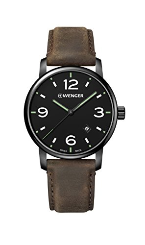 Wenger Men's Classic Stainless Steel Swiss-Quartz Watch with Leather Strap, Brown, 22 (Model: 01.1741.121)